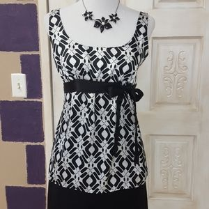 Satiny dress black and white tank with Ty bow